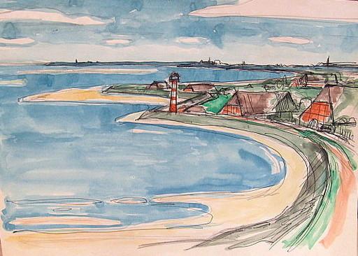 Paul MECHLEN - Drawing-Watercolor - An der Elbe.