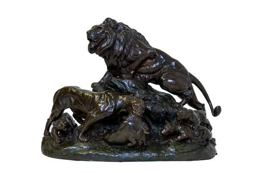 Clovis-Edmond MASSON - Sculpture-Volume - Gruppo di leoni