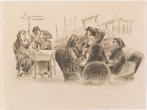 """Joseph Eugen HÖRWARTER - Disegno Acquarello - """"Salon Scene"""""""