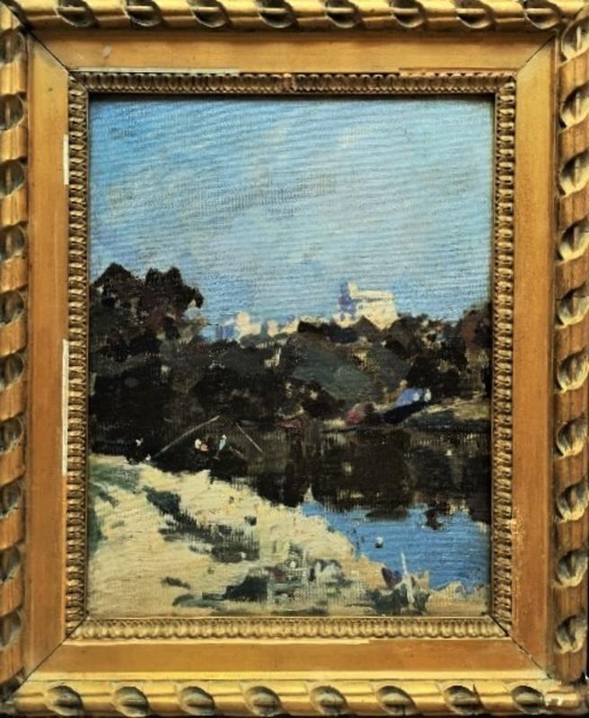 George OBERTEUFFER - Peinture - Pêcheur et canotage près d'un village