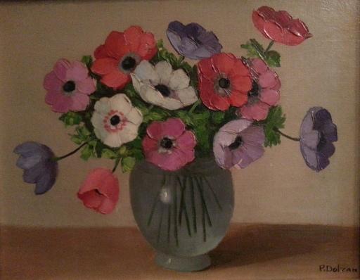 Primo DOLZAN - Pintura - Vase de fleurs