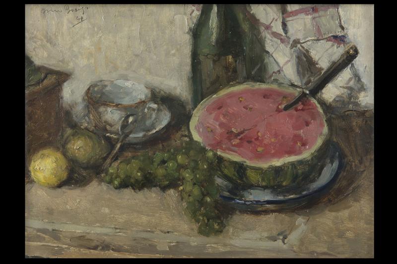 Dino BOSCHI - Pittura - Natura morta con anguria e uva