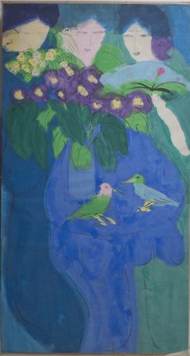 TING Walasse - Painting - Three ladies, two birds