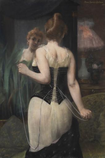 Pierre CARRIER-BELLEUSE - Gemälde - Jeune femme ajustant son corset