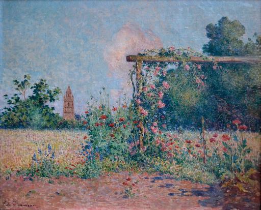 Ferdinand Loyen DU PUIGAUDEAU - Pintura - Le jardin fleuri devant l'église de Croisic