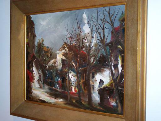 Maurice DE VLAMINCK - Painting - Paris Place du Tertre & Montmartre Basilique du Sacré-Cœur