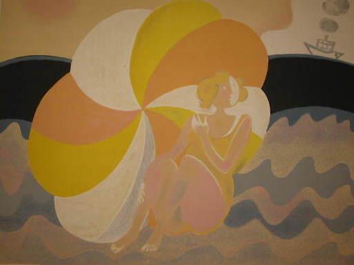 Albert ZAVARO - Print-Multiple - La baigneuse au parasol,1984.