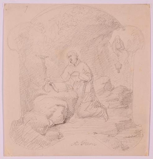 "Anton Alois STERN - Dessin-Aquarelle - ""Hermit"", Drawing, 19th Century"