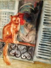 Issachar Ber RYBACK - Drawing-Watercolor - Cat on the Window