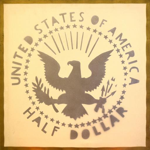 Franco ANGELI - 绘画 - Half Dollar (Antipittura)
