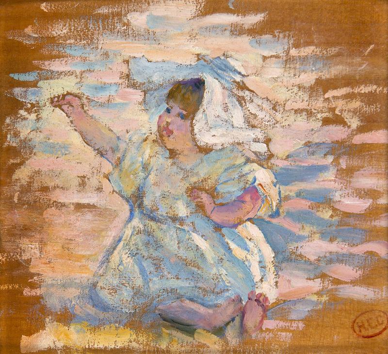 Henri Edmond CROSS - Pintura - Etude pour : Mère jouant avec son enfant
