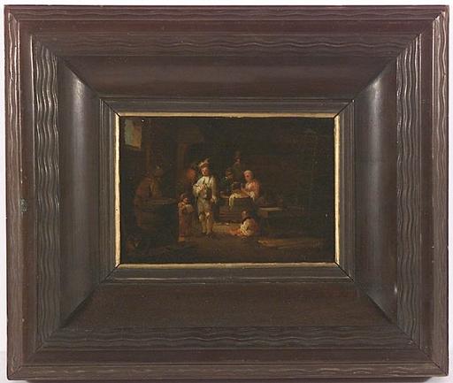 "Johann Georg TRAUTMANN - Gemälde - ""Scene in a Village Inn"", Genre Oil Painting, 18th Century"