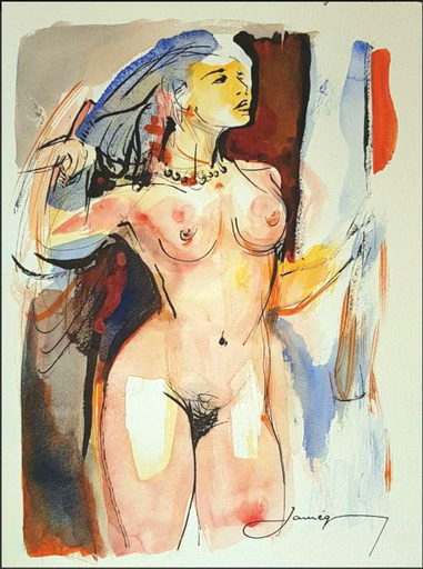 Christian JAUREGUY - Dessin-Aquarelle - Femme se peignant