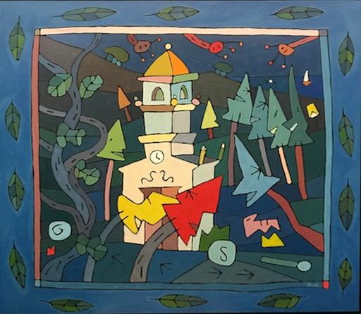 Jorge PETEIRO - Pintura - LAS  DOCE Y VEINTE EN LA TORRE DE LA IGLESIA