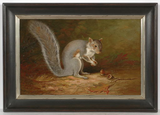 "John Clinton SPENCER - Gemälde - ""Squirrel with acorns"", oil on canvas"