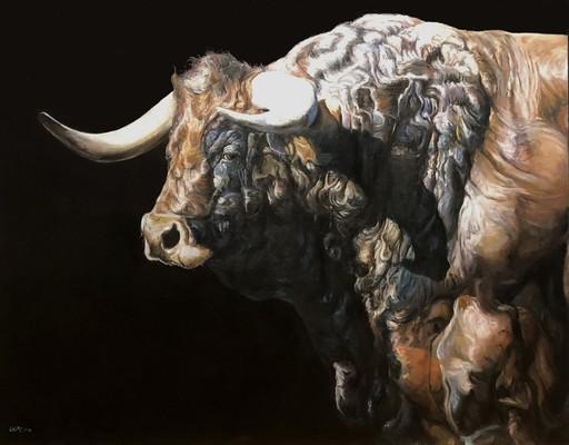 Gilles CAPTON - Pintura - toro de profil