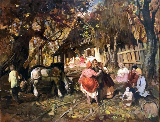 Giuseppe CHIACIGH - Pintura - Vita nel villaggio