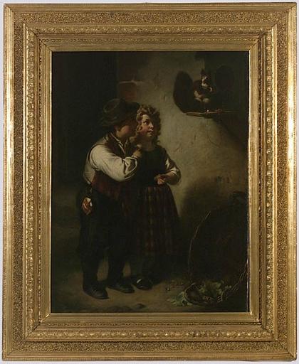 """Karl Adolf GUGEL - Peinture - """"Children with Squirrel"""" , middle 19th Century"""