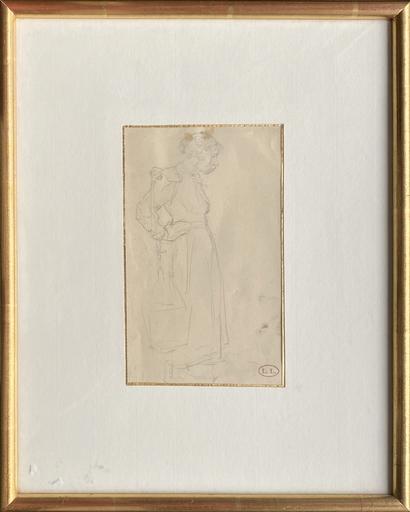 Léon Augustin LHERMITTE - Zeichnung Aquarell - Fermière au joug (étude)