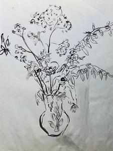 Ludwig KLIMEK - Disegno Acquarello - Bouquet de fleur
