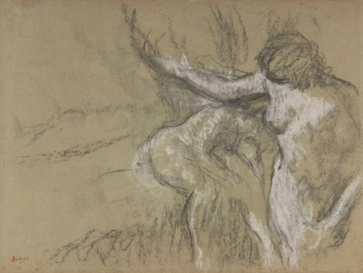 Edgar DEGAS - Drawing-Watercolor - Deux femmes dans un intérieur