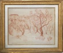 Raoul DUFY - Dessin-Aquarelle - Saint Paul de Vence (c. 1920)