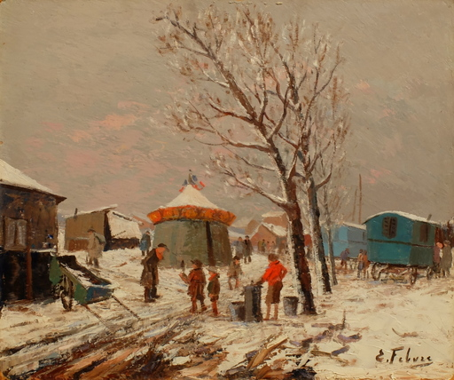 Edouard FEBVRE - Pintura - La zone en hiver