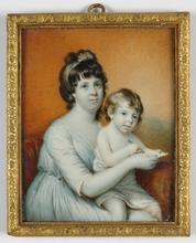 "Johann ADAMEK - Dibujo Acuarela - ""Lady with child"" large portrait miniature, 1819"