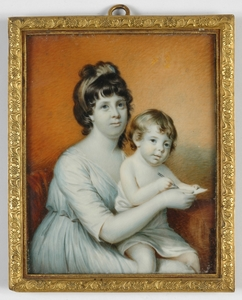 "Johann ADAMEK - Dibujo Acuarela - ""Lady with child"" large portrait miniature, 1819"