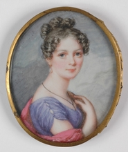 "Karl Josef Aloys AGRICOLA - Drawing-Watercolor - ""Young Austrian Lady"" portrait miniature, 1820's"