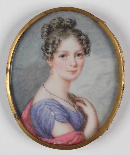"Karl Josef Aloys AGRICOLA - Dessin-Aquarelle - ""Young Austrian Lady"" portrait miniature, 1820's"