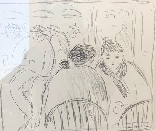 Jean-Jacques RENÉ - Dibujo Acuarela - Le café