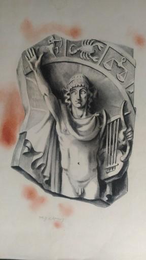 Jacques CAMUS - Dibujo Acuarela - ASTROLOGIE