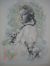 Renzo VESPIGNANI - Grabado - Bambina con cani