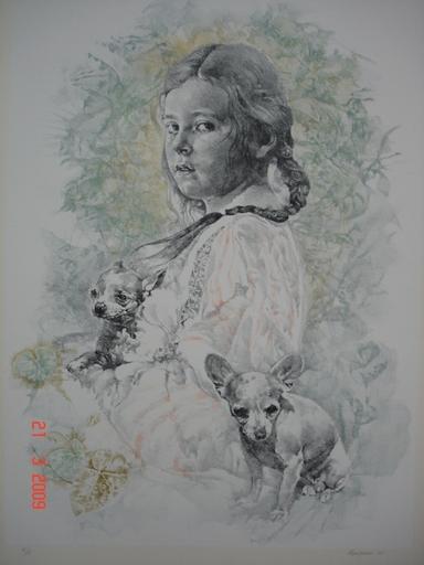 Renzo VESPIGNANI - Stampa-Multiplo - Bambina con cani
