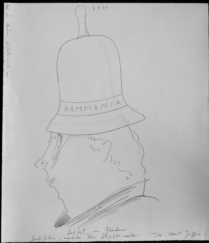 Horst JANSSEN - Dibujo Acuarela - Selbst in Glocken