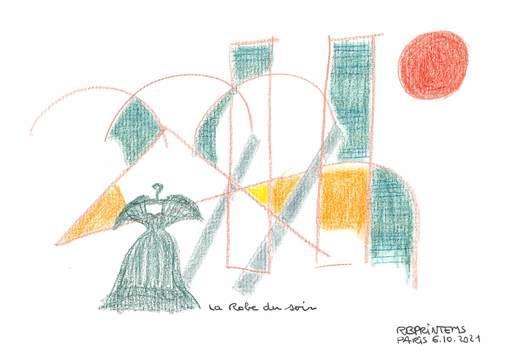 Reine BUD-PRINTEMS - Zeichnung Aquarell - La robe du soir !
