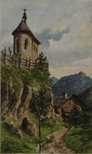 "Georg GEYER - Dibujo Acuarela - ""Chapel in the Alps"" by Georg Geyer, middle 19th Century"