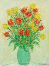 André COTTAVOZ - Painting - Bouquet de tulipes rouge et jaune