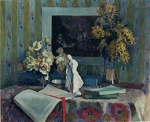 Henri OTTMANN - Painting - Still life with books and statue