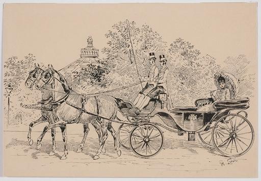 """Moritz LEDELI - Drawing-Watercolor - """"In Vienna Prater"""" by Moritz Ledeli , ca 1900"""