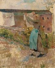 卡米耶•毕沙罗 - 绘画 - Femme étendant du linge