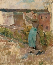 Camille PISSARRO - Peinture - Femme étendant du linge