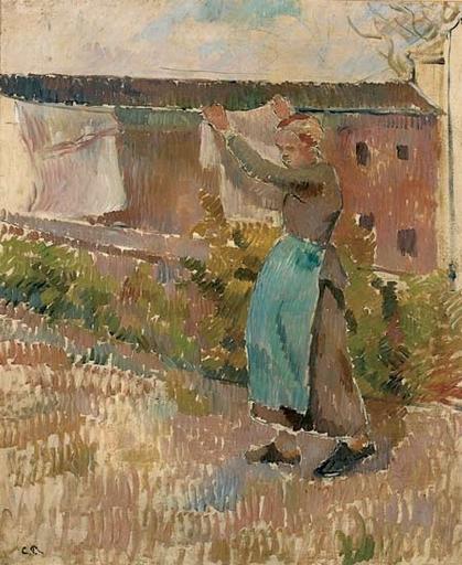 Camille PISSARRO - Pintura - Femme étendant du linge