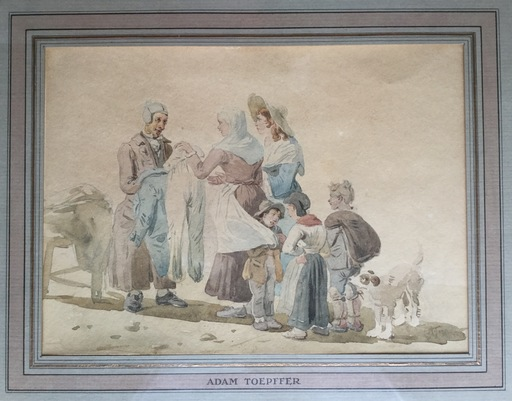 Adam TOEPFFER - Drawing-Watercolor - Le colporteur