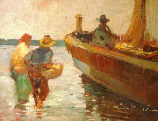 Joan GIRALT LERIN - Painting - Loading The Boat