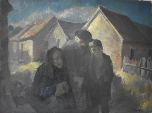 Jakob STEINHARDT - Painting -  Jewish Family   Wintery Swiss Town