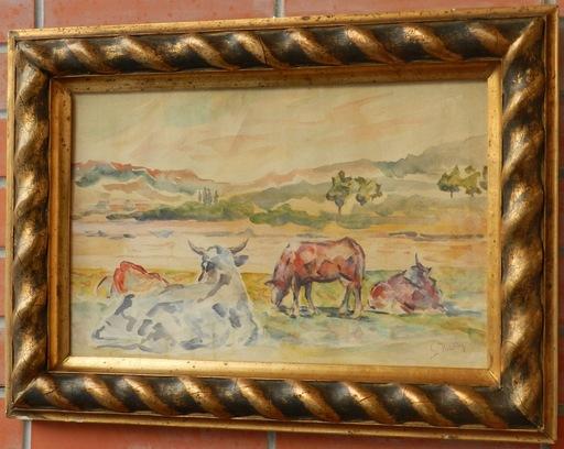 Gustav MALLY - Drawing-Watercolor - Na paši