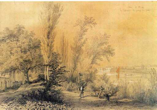 François-Joseph-Léo DROUYN - Disegno Acquarello -  Izon paysage
