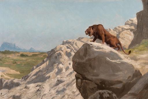 Jean-Léon GÉROME - Peinture - Lion aux Aguets; On the Watch